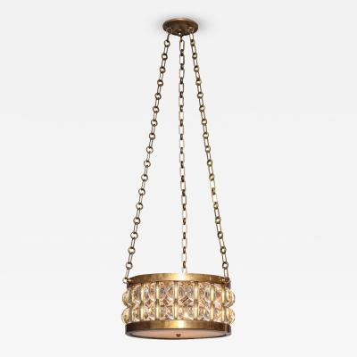 A 2 Tiered Tambour Pendant Light With Chain