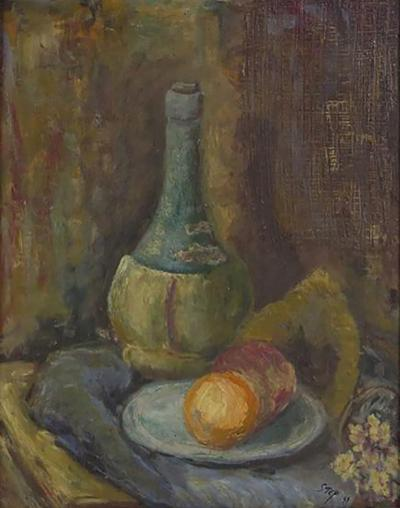 A 20th Century Still Life Painting of Jug and Fruit by the Artist