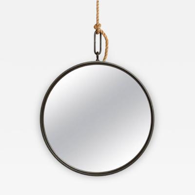 A 30 5 Patinated Steel Circular Pendant Mirror