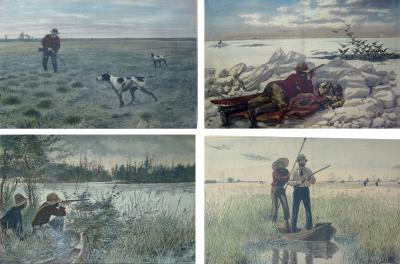 A B Frost 19th Century Sporting Prints by A B Frost Set of Four