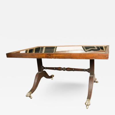 A Beautiful Mirrored and Reeded Top Coffee Table in Mahogany