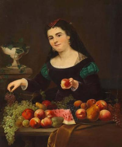 A Beautiful Oil on Canvas Portrait Painting of a Fruit Seller 19th Century