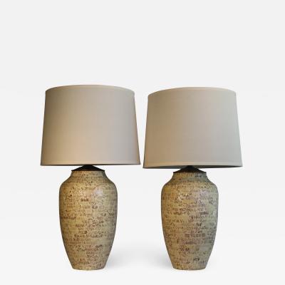 A Beautiful Pair Of Tweed Ceramic Table Lamps
