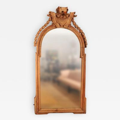 A Beautifully Carved Large Scale 18th Century Antique Limewood Mirror