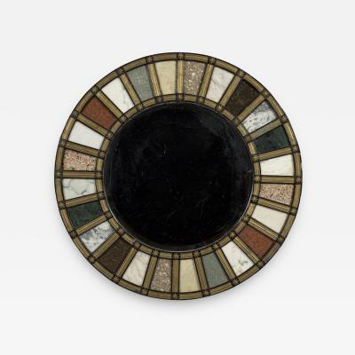 A Black Painted Brass Mounted And Specimen Marble Inset Steel Framed Mirror