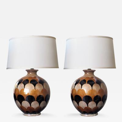 A Bold Pair of Italian Handmade Ceramic Lamps