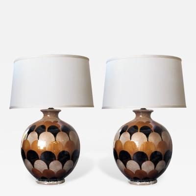 A Bold Pair of Italian Handmade Ceramic Lamps with Imbricating Glaze