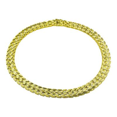 A Bold Yellow Gold Zig Zag Pattern Necklace