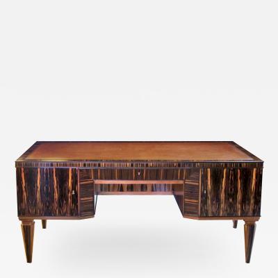 A Boldly Scaled French Art Deco Macassar Veneered Pedestal Desk