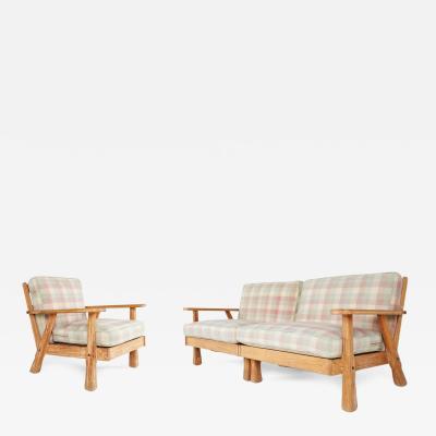A Brandt Ranch Oak Furniture A Brandt Ranch Three Piece Textured Oak Seating Set circa 1950s