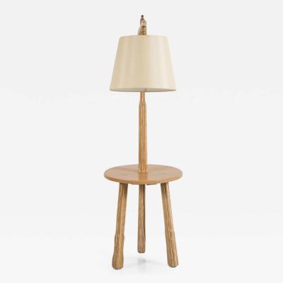 A Brandt Ranch Oak Furniture Oak Floor Lamp with Table by Brandt Ranch