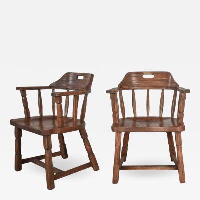 A Brandt Ranch Oak Furniture Vintage ranch oak captains armchairs by a brandt acorn brown finish a pair