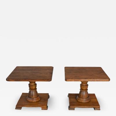 A Brandt Ranch Oak Furniture pair vintage ranch oak pedestal side tables with acorn brown finish by a brandt