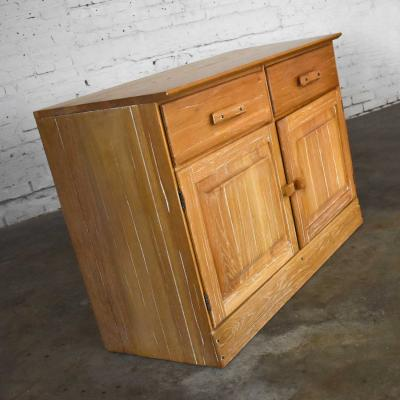 A Brandt Ranch Oak Furniture vintage ranch oak pair of small credenzas or buffet cabinets