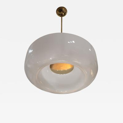 A Brass and Opaline Ceiling Lamp Italy 60