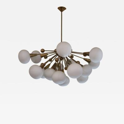 A Brass and Opaline Glass Midcentury Italian Ceiling Lamp 1970