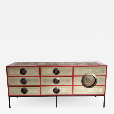A Bronze Shagreen and Lacquer Sideboard by Kenneth Dipaola