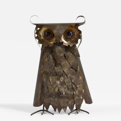 A Brutalist Metal Owl Table Sculpture 1960s