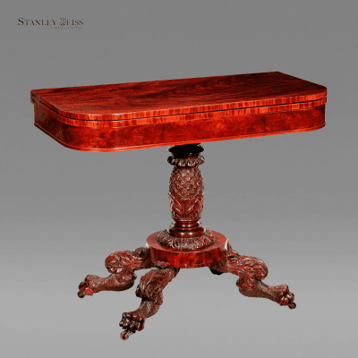 A Carved Mahogany Classical Card Table New York c 1820