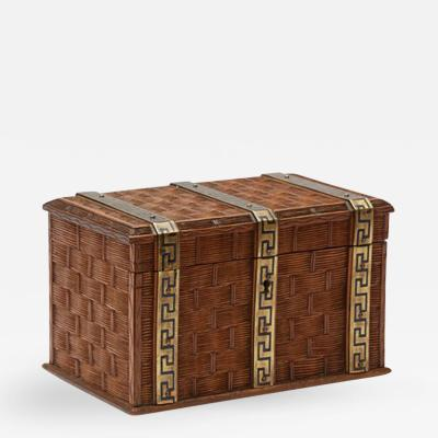 A Carved Woven Design Wooden Box