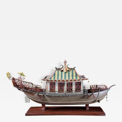 A Carved and Painted Wood Highly Detailed Model of a Chinese Junk Boat