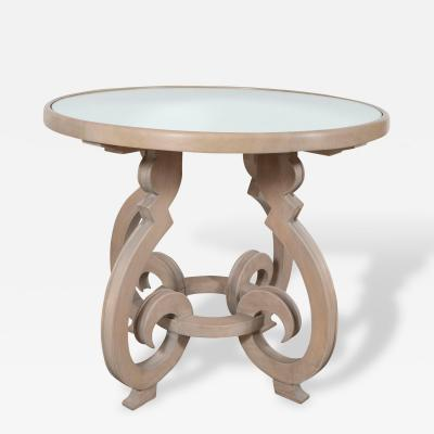 A Ceruse Wood and Mirror Occasional Table in the Manner of Jean Charles Moreux