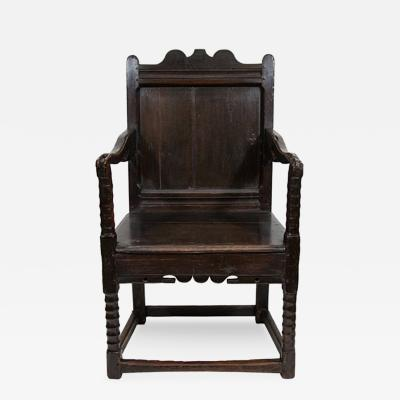 A Charles II Oak Wainscot Armchair Third Quarter 17th Century