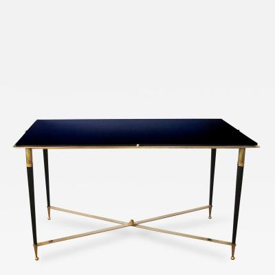 A Chic French Rectangular Cocktail Table with Black Glass Top