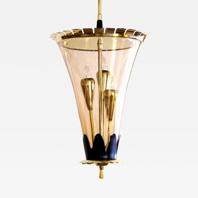 A Chic Italian Brass 3 Light Conical Form Lantern with Etched Glass