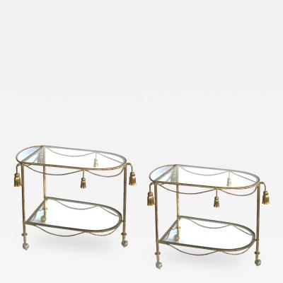 A Chic Pair of Italian Hollywood Regency Drinks Bar Carts