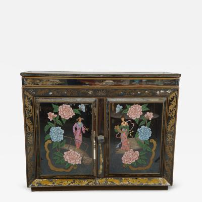 A Chinese Export Style Verre Eglomise Bar Cabinet