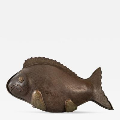 A Chinese Paktong Covered Dish in the Form of a Carp