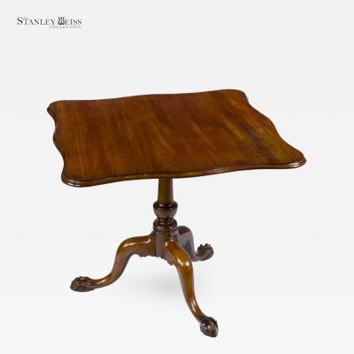 A Chippendale Mahogany Serpentine Tilt Top Tea Table MA c 1770 80