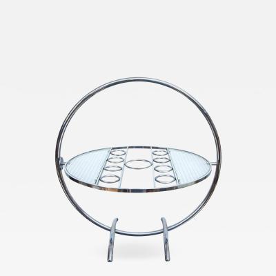 A Chrome Art Deco Gyroscopic Tilt Top Cocktail Table