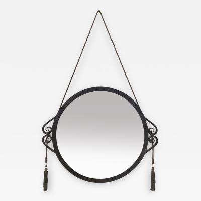 A Circular early 1920s Ironwork Mirror in the Manner of Edgar Brandt