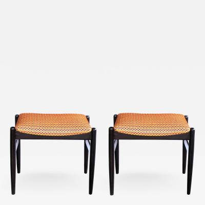 A Classic Pair of Danish Modern 1960s Deep Brown Lacquered Benches Stools