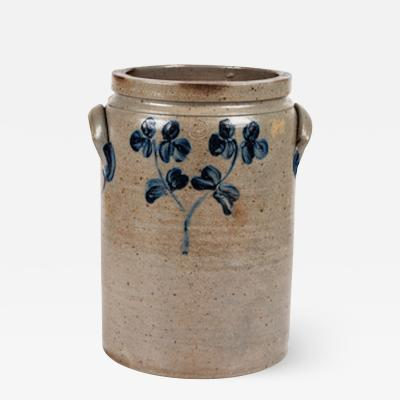 A Cobalt Decorated Stoneware Four Gallon Twin Handle Crock