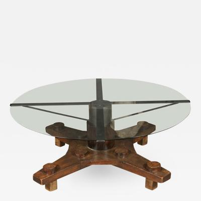 A Coffee Table from Ship Port Part with Metal Base and Glass Top