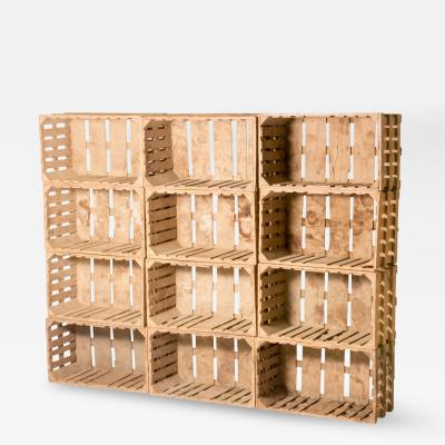 A Collection of Wooden Boxes Crates as Bookcase Sold as a Set of 12