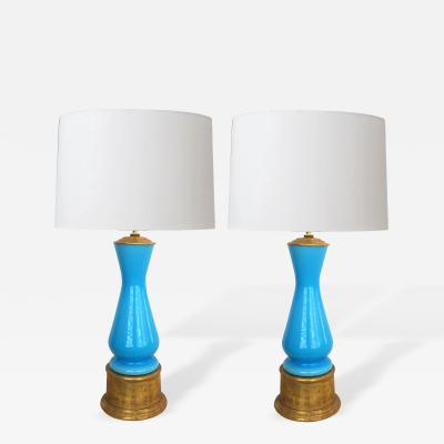 A Colorful Pair of Italian Murano Sky Blue Cased Glass Lamps