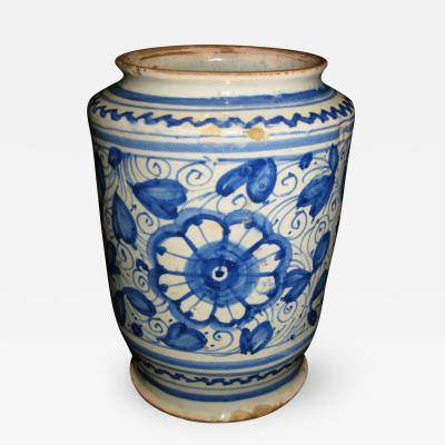 A Conical Shaped Albarello with Blue and White Floral Motif