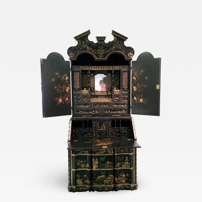 A Continental Black Japanned Bureau Bookcase