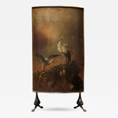A Continental Cast Iron and Painted Tole Fire Screen