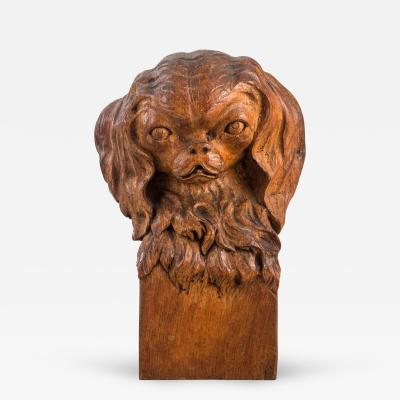 A Continental Oak Bust of a Japanese Chin Dog Signed Fr Lemmens