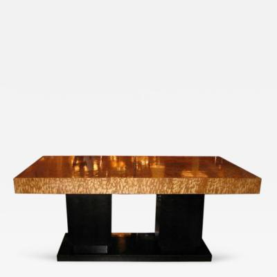 A Cubist Extending Dining Table in Burl Ash and Lacquered Oak