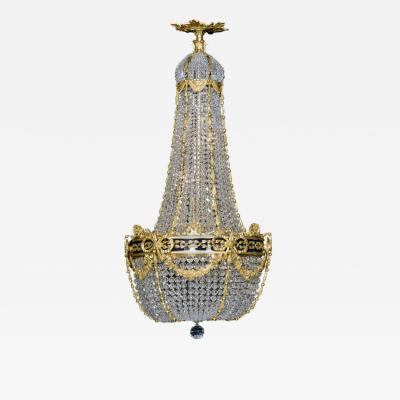 A Cut Crystal Tent and Bag Chandelier