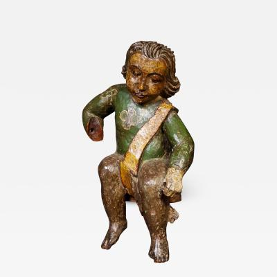 A Delightful 17th Century Spanish Polychrome Carving of A Child