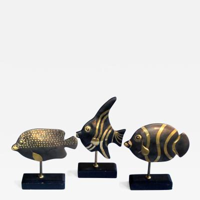 A Delightful Set of 3 1960s Bronze Tropical Fish on Stands