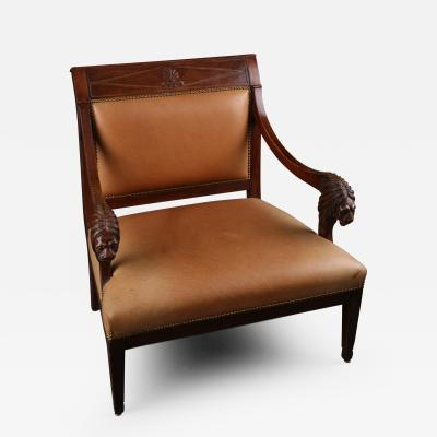 A Directoire Mahoganized Chestnut Marquise Armchair French ca 1790