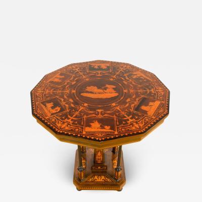 A Dutch marquetry walnut inlay tilt top table circa 1885